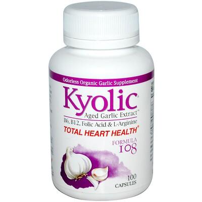 Купить Kyolic Пищевая добавка «Совершенно здоровое сердце», формула 108, 100 капсул