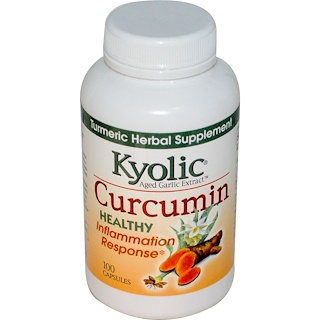 Kyolic, Extrato curtido de alho, curcumina, 100 cápsulas