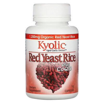 Купить Kyolic Экстракт выдержанного чеснока, красный ферментированный рис, с CoQ10, 75 капсул