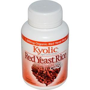Wakunaga — Kyolic, Экстракт возрастного чеснока, красный дрожжевой рис, плюс Коэнзим Q10 75 капсул инструкция, применение, состав, противопоказания