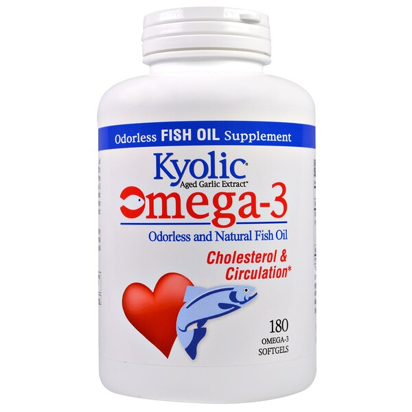 Kyolic, Omega - 3, Odorless and Natural Fish Oil, 180 Omega-3 Softgels