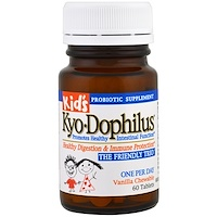 Детский Kyo-дофилус, жевательные таблетки с ванилью, 60 таблеток - фото