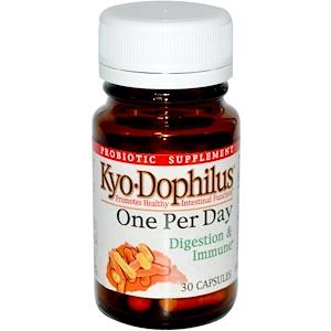 Wakunaga — Kyolic, Kyo Dophilus, один раз в день, для пищеварения и иммунитета, 30 капсул инструкция, применение, состав, противопоказания