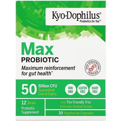Купить Kyolic Kyo-Dophilus, пробиотик максимального действия, 50млрд КОЕ, 30вегетарианских капсул