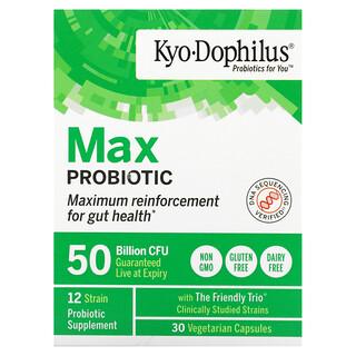 Kyolic, Kyo-Dophilus، Max Probiotic، 50 مليار وحدة تشكيل مستعمرة، 30 كبسولة نباتية
