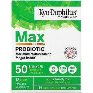 Kyolic, Kyo-Dophilus, Max Probiotic E-Z Packs, 50 Billion CFU, 14 Vegetarian Capsules