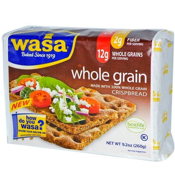 Wasa Flatbread, Хрустящие хлебцы, цельнозерновые, 9,2 унции (260 г)