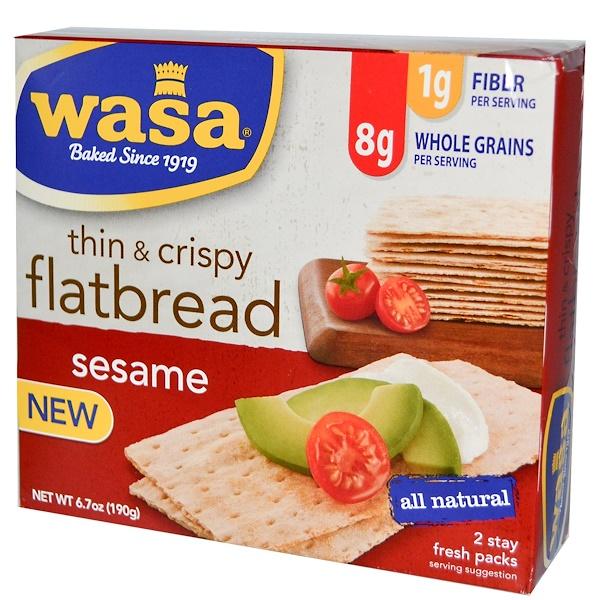 Wasa Flatbread, Thin & Crispy, Sesame, 2 Stay Fresh Packs, 6.7 oz (190 g) (Discontinued Item)
