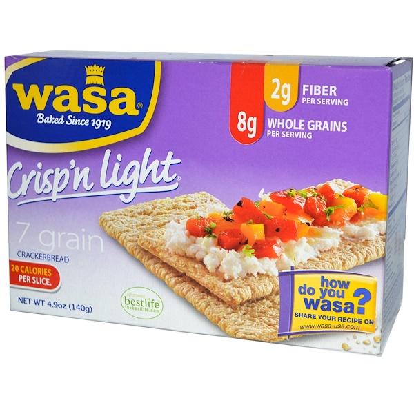 Wasa Flatbread, Crisp'n Light Crackerbread, 7 Grain, 4.9 oz (140 g) (Discontinued Item)