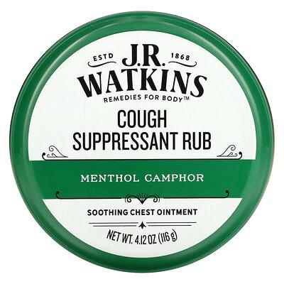 J R Watkins Cough Suppressant Rub, Menthol Camphor, 4.12 oz (116 g)