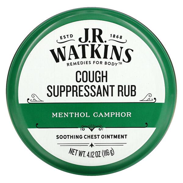 J R Watkins, Cough Suppressant Rub, Menthol Camphor,  4.12 oz (116 g)