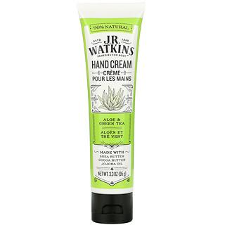 J R Watkins, Hand Cream, Aloe & Green Tea, 3.3 oz (95 g)