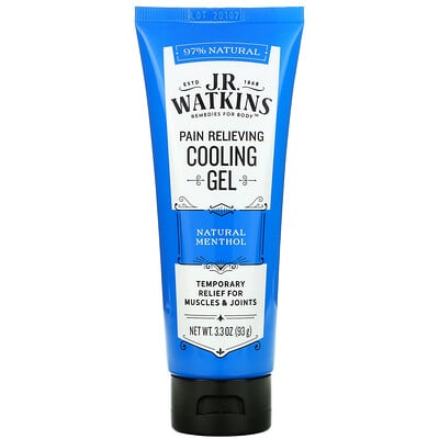 J R Watkins Pain Relieving Cooling Gel, Natural Menthol, 3.3 oz (93 g)