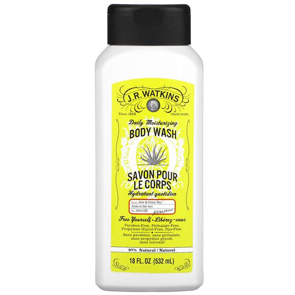 Daily Moisturizing Body Wash, Aloe & Green Tea, 18 fl oz (532 ml)