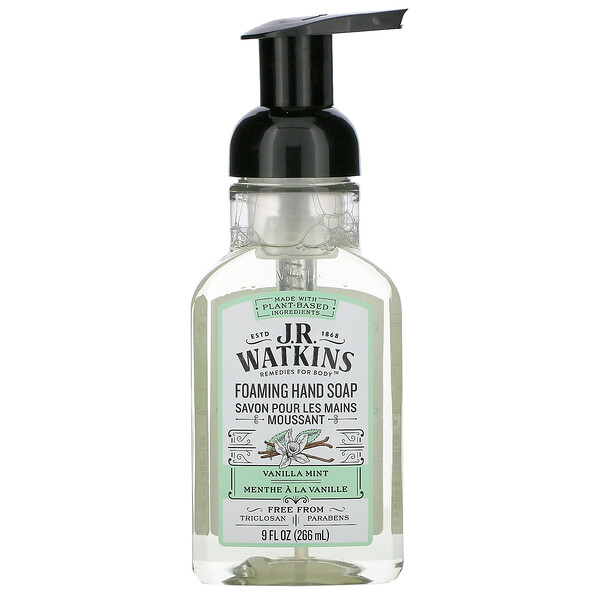 J R Watkins, Foaming Hand Soap, Vanilla Mint, 9 fl oz (266 ml)