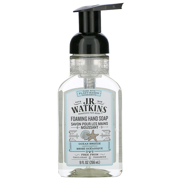 J R Watkins, Foaming Hand Soap, Ocean Breeze, 9 fl oz (266 ml)