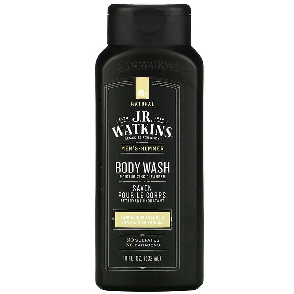 J R Watkins, Men's Body Wash, Sandalwood Vanilla, 18 fl oz (532 ml)
