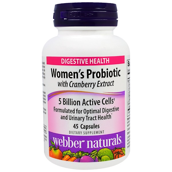 Webber Naturals, Women's Probiotic with Cranberry Extract, 5 Billion Active Cells, 45 Capsules (Discontinued Item)