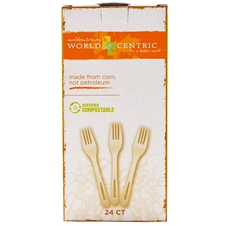 World Centric, Corn & Talc Forks, White, 24 Count