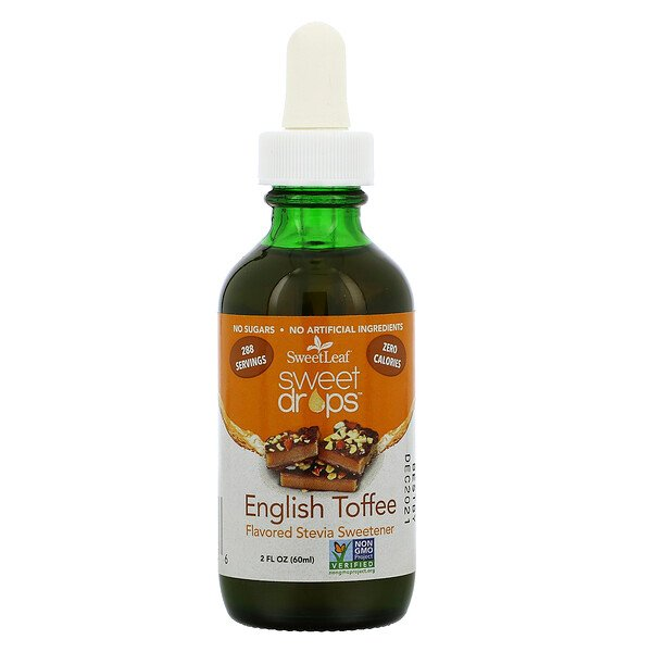 Wisdom Natural, SweetLeaf, Sweet Drops Stevia Sweetener,  English Toffee, 2 fl oz (60 ml)