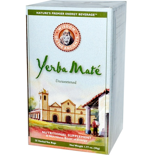 Wisdom Natural, Wisdom of the Ancients, Yerba Mate, Unsweetened, 25 Herbal Tea Bags, 1.77 oz (50 g) (Discontinued Item)