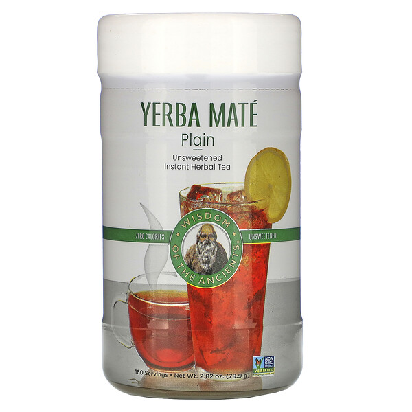 Wisdom Natural, Yerba Mate Plain, Unsweetened, Instant Herbal Tea, 2.82 oz (79.9 g)