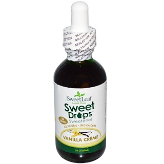 Wisdom Natural, SweetLeaf, flⁿssiges Sⁿ▀ungsmittel mit Stevia, Sweet Drops, Vanillecreme, 2 fl. oz. (60 ml)