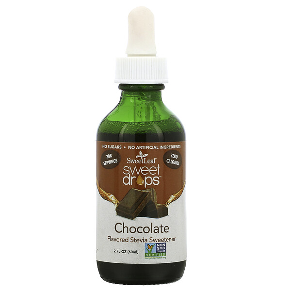 Wisdom Natural, SweetLeaf, Sweet Drops Stevia Sweetener,  Chocolate, 2 fl oz (60 ml)