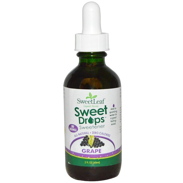 Wisdom Natural, SweetLeaf, Liquid Stevia, Grape, 2 fl oz (60 ml)