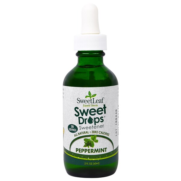Wisdom Natural, SweetLeaf Liquid Stevia, Sweet Drops Sweetener, Peppermint, 2 fl oz (60 ml)