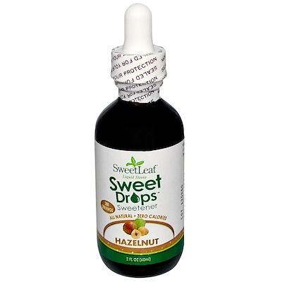 Купить SweetLeaf, Жидкая стевия, Сладкие капли, Фундук, 2 жидких унции (60 мл)