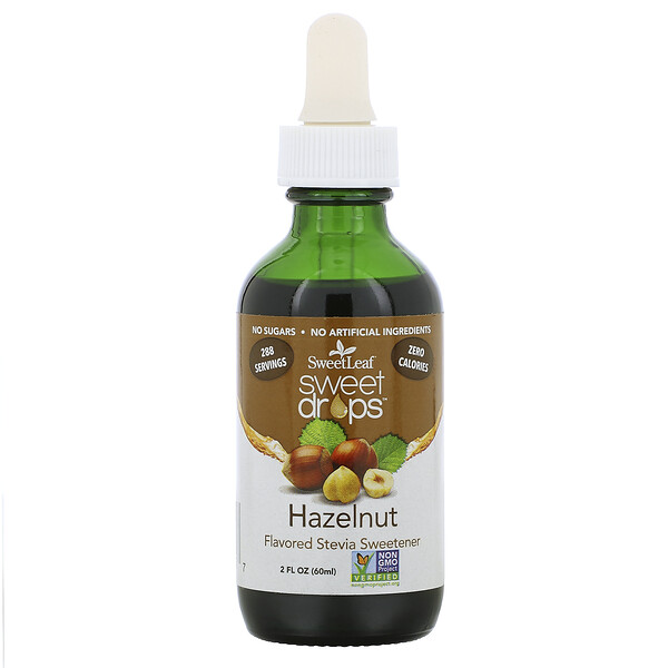SweetLeaf, Sweet Drops Stevia Sweetener, Hazelnut, 2 fl oz (60 ml)