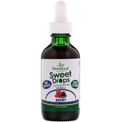 Wisdom Natural SweetLeaf, Жидкая стевия, ягодный вкус, 2 жидких унции (60 мл)