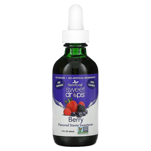 SweetLeaf, Stevia líquida, Baya, 2 fl oz (60 ml)