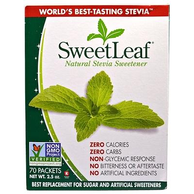SweetLeaf, природный заменитель сахара стевия, 70 пакетов