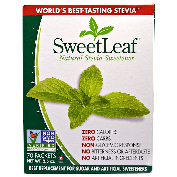 SweetLeaf, Natural Stevia Sweetner, 70 Packets