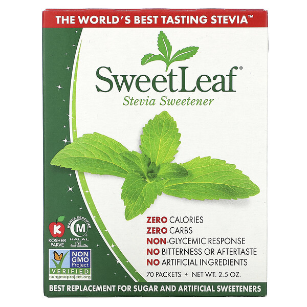 SweetLeaf, Natural Stevia Sweetner, 70 Packets, 2.5 oz
