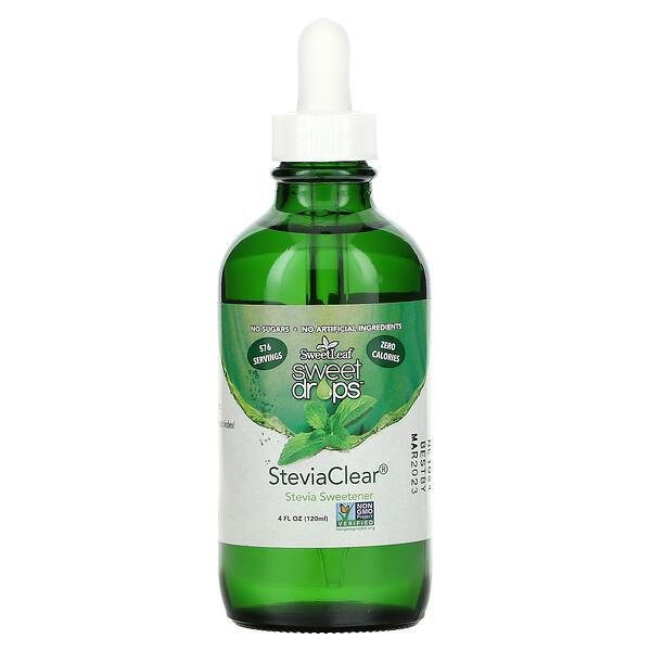 SweetLeaf,Sweet Drops,SteviaClear,甜味劑,4 液量盎司(120 毫升)