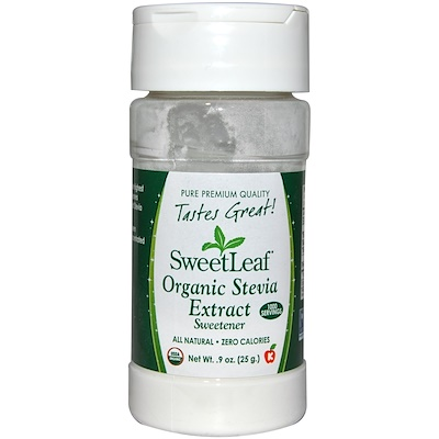 Купить SweetLeaf, органический экстракт стевии, подсластитель, 0, 9 унции (25 г)