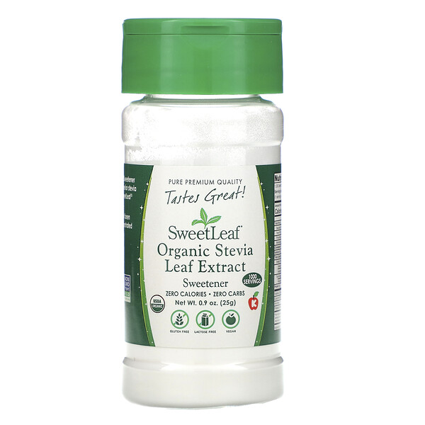 SweetLeaf, Organic Stevia Leaf Extract, Sweetener, .9 oz (25 g)