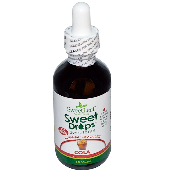 Wisdom Natural, SweetLeaf Liquid Stevia, Sweet Drops Sweetener, Cola, 2 fl oz (60 ml)