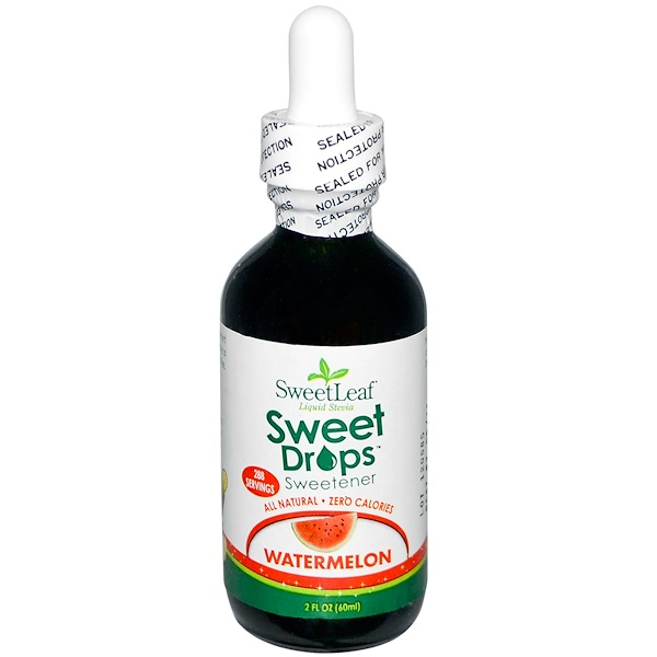 Wisdom Natural, SweetLeaf Liquid Stevia, Sweet Drops Sweetener, Watermelon, 2 fl oz (60 ml) (Discontinued Item)