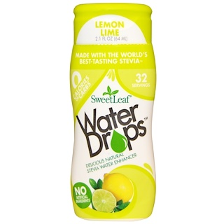 Wisdom Natural, Water Drops, Stevia Water Enhancer, Lemon Lime, 2.1 fl oz (64 ml)