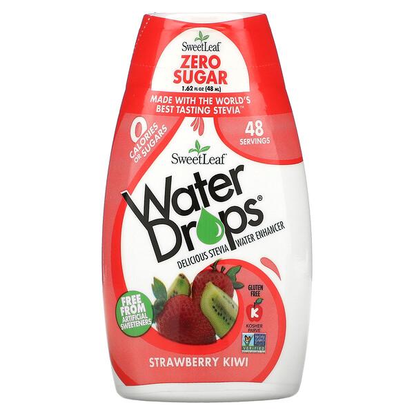 SweetLeaf, Water Drops, Delicious Stevia Water Enhancer, Strawberry Kiwi, 1.62 fl oz (48 ml)