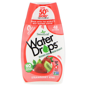 Виздом Натуралс, SweetLeaf, Water Drops, Delicious Stevia Water Enhancer, Strawberry Kiwi, 1.62 fl oz (48 ml) отзывы покупателей