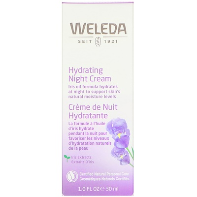 Увлажняющий ночной крем, экстракт ириса, для нормальной или сухой кожи, 30 мл