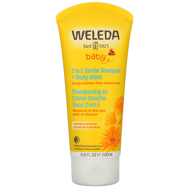 Weleda, Calendula Extracts, 2-in-1 Gentle Shampoo + Body Wash, 6.8 fl oz (200 ml)