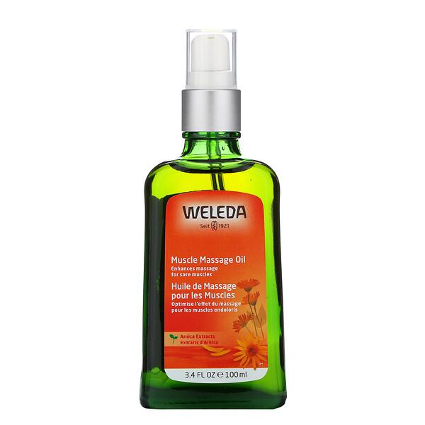 Aceite para masaje muscular, extractos de árnica, 3,4 fl oz (100 ml)