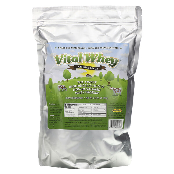 Well Wisdom, Vital Whey, Natural Cocoa, 2.5 lbs (1.13 kg)