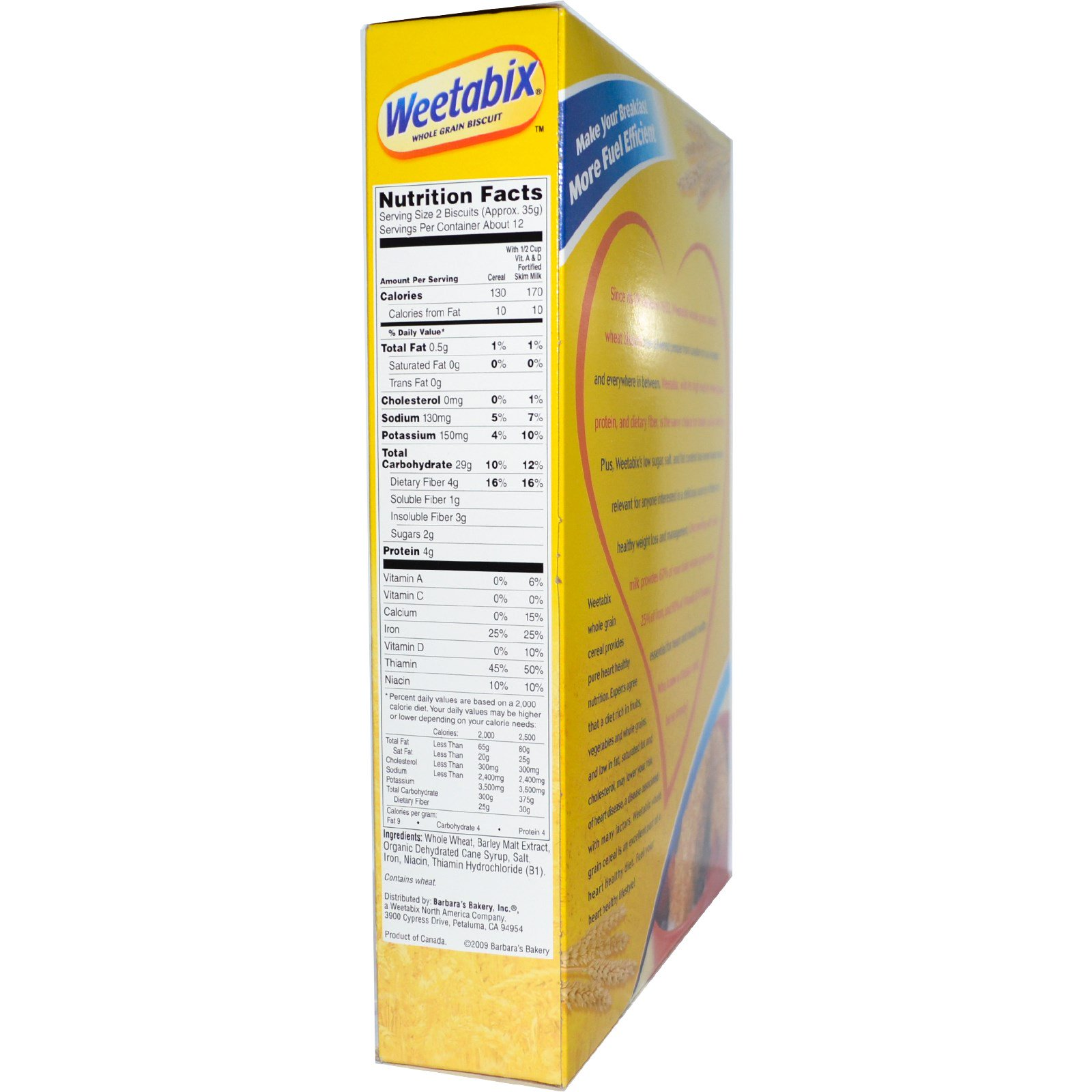 Weetabix nutrition label
